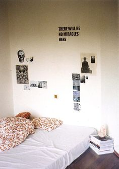 Another option for college room, except more posters.  I either like my walls completely covered or bare.