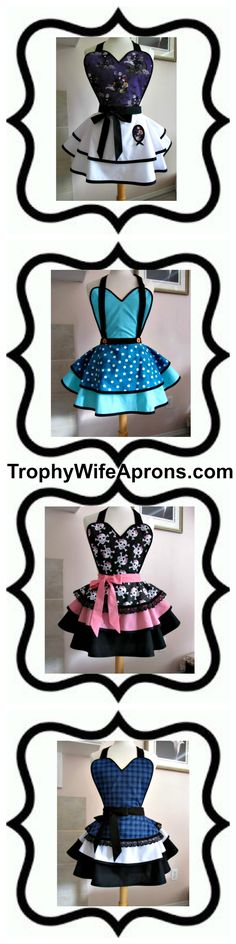 ☀ Vintage inspired sexy aprons - #flirtyaprons - Custom or readymade hostess aprons -All sizes #hostessaprons #retroaprons #sexyaprons #ruffledaprons #layeredaprons #aprons☀ ☀ I regularly giveaway a FREE Funky Hostess Apron ☀ ☀  CLICK here for details==> https://sites.google.com/site/trophywifeaprons - I invite you to LIKE my fan page at:  www.Facebook.com/TrophyWifeAprons