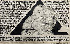 Dario Duluoz / Shone Della libertà, 2015 illustrazione di Duluoz in vernice e matita e calligrafie di Shone in inchiostro su tela gessata 1,42 x 2,32 m  600 euro