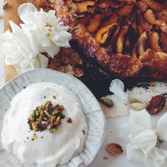 Peach galette with pistachio brittle and cardamom whipped cream ...