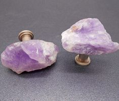 Raw Amethyst Cabinet Knobs   Set of 2 Stone by KnuckleheadKnobs