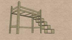 Hochbett: Bettgestell mit Treppe