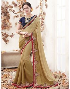 Beige Georgette Saree with Embroidery Work
