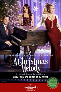 A Christmas Melody - A gift of music transports people back to another time and place where they find their truest feelings. Starring Mariah Carey, Lacey Chabert and Brennan Elliott Xmas Movies, Best Christmas Movies, Hallmark Christmas Movies, 2015 Movies, Hallmark Movies, Family Movies, Great Movies, Holiday Movies, Christmas Christmas