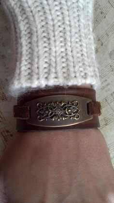 Woman's Brown Leather Antique Brass Filigree Cuff by AlynneDesigns