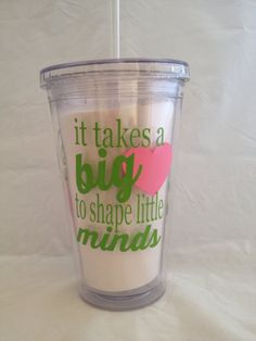 Tumbler Cup Lid and Straw Personalized - A perfect gift for teachers, coaches, team moms, tutors or anyone else you appreciate in your life.