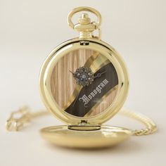 Antique wood effect and gold pocket watch - girly gift gifts ideas cyo diy special unique