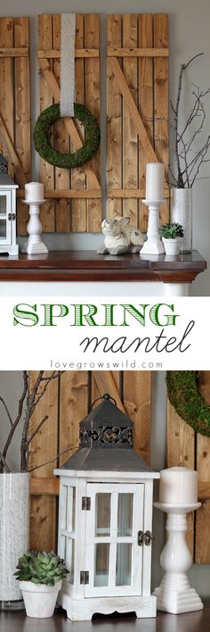 A Spring-Inspired Mantel featuring white and wood tones with a beautiful moss-covered wreath | LoveGrowsWild.com