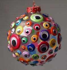 googly eyes glued to clear CHRISTmas ornament~ for the boys