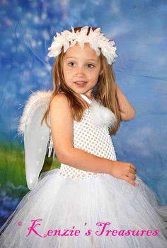 Tutu Angel Dress Costume con ali e aureola dimensione NB-24