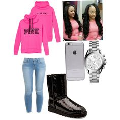 """Love me like you do"" by mecatilyn-arkeona-denson on Polyvore featuring polyvore, fashion, style, Victoria's Secret, Frame Denim, UGG Australia and Michael Kors"