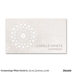 294 best spa business cards images on pinterest spa business cards chic elegant white circle logo white cosmetologist business card reheart Choice Image