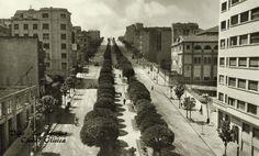 La Gran Vía en los años 50. A la izquierda la construcción del hotel Lisboa, hoy Zenit.