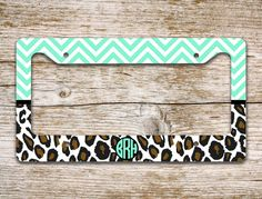Monogram license plate frame for teen girls - Light aqua chevron with cheetah print by ToGildTheLily, $16.99