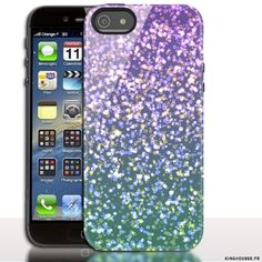 Coque iPhone 5 Paillettes Mauves - Etui Housse. #Strass #Purple #Coque #Apple #iPhone5
