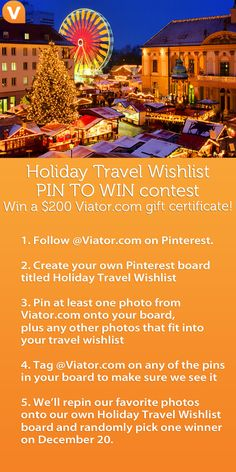 Enter to win a Viator.com gift certificate with our Holiday Travel Wishlist Pin to Win contest: http://travelblog.viator.com/pinterest-contest-holiday-travel-wishlist/