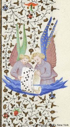 Half-figures of two angels holding scroll with musical inscription, emerging from cloud | Book of Hours | France, Paris | ca. 1425–1430 | The Morgan Library & Museum