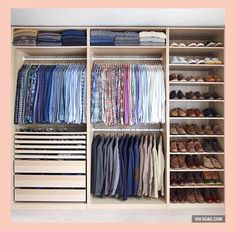 Is your closet overflowing? Here are closet storage ideas to help you gain more control over your closet space. Wardrobe Design Bedroom, Master Bedroom Closet, Bedroom Wardrobe, Wardrobe Closet, Small Wardrobe, Closet Space, Small Closets, Wardrobe Interior Design, Closet Wall