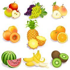 material de vetor frutas frescas