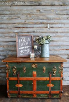 antique trunk/coffee table with annie sloan chalk paint