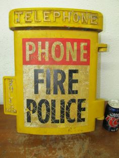 Vintage Automatic Electric Telephone Emergency Police Fire Dept Street Pole Sign   eBay
