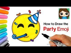 How to Draw the Party Emoji Easy Cartoon Network Characters, Drawing Lessons For Kids, Cute Emoji, Easy Youtube, Meghan Trainor, Art Challenge, Everyday Objects, Free Coloring Pages, Learn To Draw