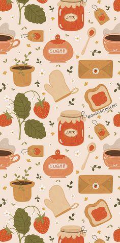 Strawberry Art, Strawberry Plants, Spring Wallpaper, Pattern Illustration, Pretty Wallpapers, Pattern Wallpaper, Pattern Art, Wall Collage, Cute Art