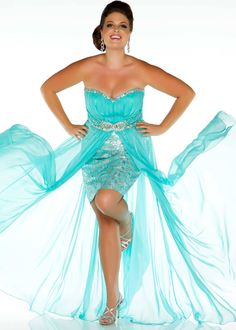 45f907750b3 New 2013 Fabulouss by Mac Duggal 76288F aqua strapless high low plus size  prom dresses available