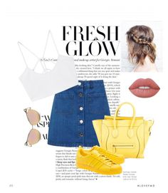"""""""yellow is the thing"""" by evelina-hagstrom on Polyvore featuring Miss Selfridge, CÉLINE, adidas Originals, MANGO and Lime Crime"""