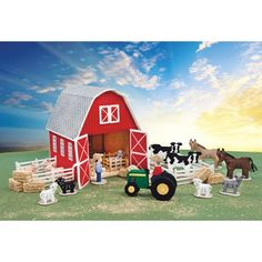 Mary Maxim - Barnyard Plastic Canvas Kit - All children love animals and your little one will have endless fun playing with this exclusive plastic canvas kit. Includes all components to make barn, 8 fences, 13 animals, tractor with farmer and farm hand.
