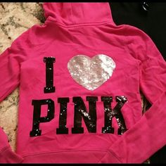BLING VS PINK small zip up jacket Size small BLING I HEART PINK Victoria's Secret PINK zip up swear jacket pre owned . ✨✨✨✨✨✨ PINK Victoria's Secret Jackets & Coats