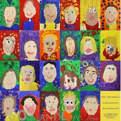 This is one of the best ideas I've seen for a class at school, they are self portraits! how cool is this? all you teachers out there check this out on her blog...http://www.oliveandlove.com/2012/01/kindergarten-self-portraits-2.html