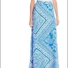✨Lily Pulitzer Maxi Skirt blue & white✨ ✨Lily Pulitzer Maxi Skirt with White and Blue✨ Lilly Pulitzer Skirts Maxi