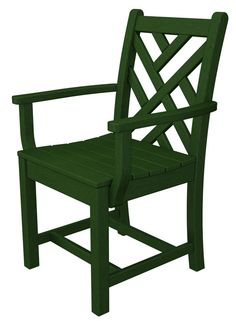 Polywood CDD200GR Chippendale Dining Arm Chair in Green