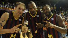 Los jugadores del FC Barcelona, exultantes tras conquistar el título de la Liga Endesa 2014 #baloncesto