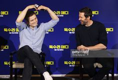 Actors Taron Egerton and Hugh Jackman attend the 'Eddie The Eagle' Meet The Audience on March 8, 2016 in Seoul, South Korea. Hugh Jackman and Taron Egerton is visiting South Korea to promote their recent film 'Eddie The Eagle' which will be released in South Korea on April 7.