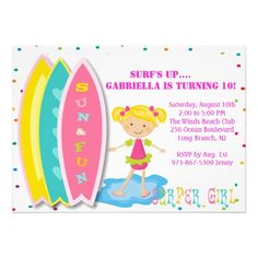 Surfer Girl Beach Party Birthday Invitation