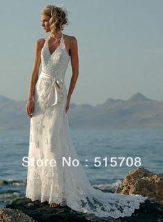 halter lange sleveless wit ivoor kant vloer lengte strand bruidsjurk goedkope trouwjurken
