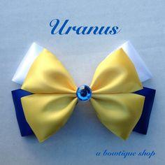 uranus hair bow by abowtiqueshop on Etsy Sailor Moon Crafts, Sailor Moon Wedding, Disney Hair Bows, Ribbon Bows, Ribbons, Anime Crafts, Handmade Hair Bows, Making Hair Bows, Diy Bow