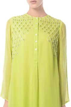 Buy Lime hand embroidered tunic by Mandira Wirk at Aza Fashions Simple Pakistani Dresses, Pakistani Dress Design, Indian Dresses, Sleeves Designs For Dresses, Dress Neck Designs, Kurti Embroidery Design, Embroidery Fashion, Kurtha Designs, Indian Designer Suits