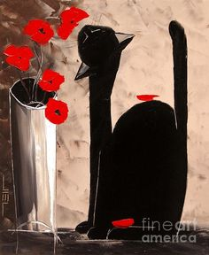 Atelier De Jiel - Black Cat with Poppies