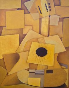 My Cubist Guitar - 22x28 oil - by mouth-painter Mariam Paré