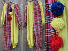 1970s two toned yellow and red plaid hand made clown costume