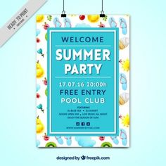 Watercolor summer elements party poster