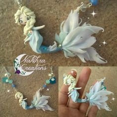 Handmade Elsa mermaid polymer clay