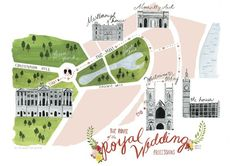 beautifully printed giclee print w/ additional letterpress by rowley press// processional map of the royal wedding between prince william & kate middleton//by house that lars built.