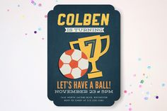 Soccer Game Time Children's Birthday Party Invitations by Jessie Steury at minted.com