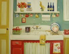 A Dishy Day- Open Edition Print. $26.00, via Etsy.  i love this kitchen