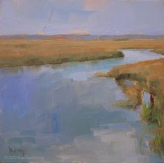 Mini Original Oil Painting by Kathleen Coy. Marsh Landscape. Includes display easel.