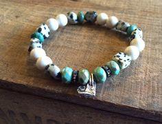Vanilla Boho Chic Bracelet, Artisan Heart Bracelet, Pave Vanilla and Mint Bracelet, 925 Silver Charm Bracelet, Statement Boho Bracelet   on Etsy, $35.00
